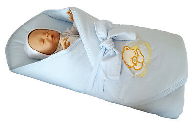 BlueberryShop Jersey Embroidered Swaddle Blanket Wrap for Newborn Baby Stiffened