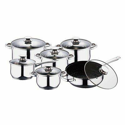 12Pcs Deluxe Quality S/s Steel Casserole Stock Pot Pan Induction Cookware Set