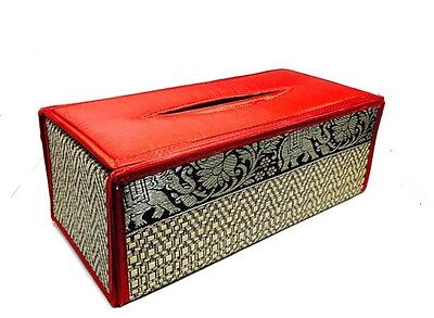 Handmade Thai Woven Straw Reed Rectangular Red Tissue Box Cover with Silk