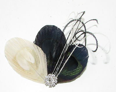Ivory Cream Black Silver Peacock Feather Fascinator Hair Clip Vintage 1920s 690