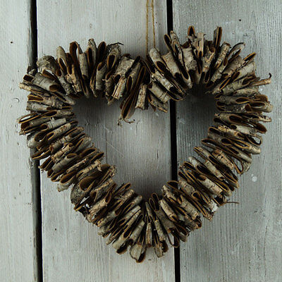 Natural Birch Folded Bark Hanging Heart Wreath Rustic Shabby Wedding Decoration
