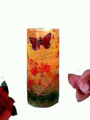 """7"""" Reusable Gel Wax Candle with Red Crystal Flowers & Butterfly Details"""
