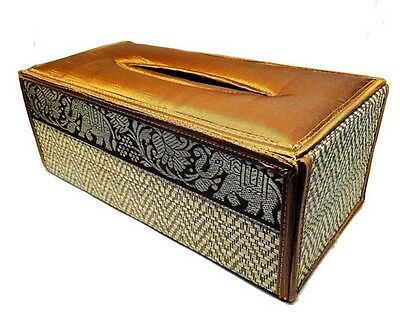 Handmade Thai Woven Straw Reed Rectangular Golden brown Tissue Box Cover with Si