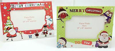 Red Green Cute Christmas Picture Frame Card & Envelope Personalised Family Photo