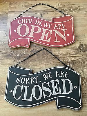 Come In, We Are Open / Sorry,We Are Closed Wooden Hanging Red Black Sign Reverse
