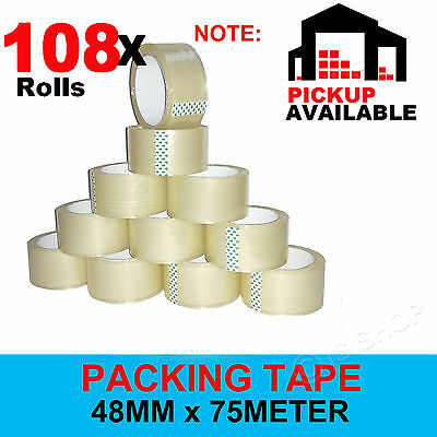 Clear Packing Tape 48mm x 75m Packaging Tape Sticky Sealing 108 72 36 12 6 3 Pcs
