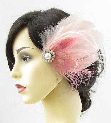 Blush Light Pink Silver White Feather Fascinator Hair Clip Bridal Vtg 1920s 692