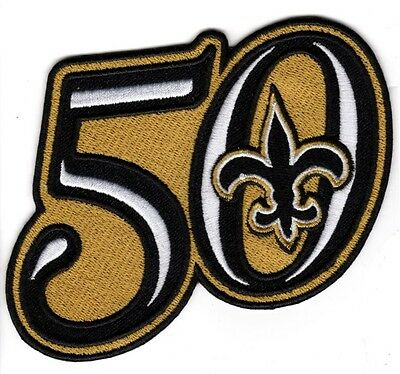 New Orleans Saints 50Th Anniversary Season Patch Embroidered Jersey Style 4 X 3