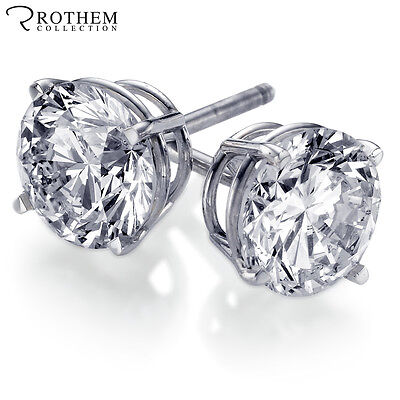 1 carat D SI2 White Gold Diamond Stud Earrings with Screw Back for Pierced Ears