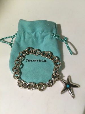 RARE Tiffany & Co. Starfish Charm Bracelet 925 Sterling Silver Turquoise 8ODR