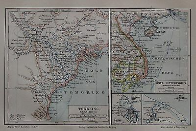 1889 TONGKING ASIEN alte Landkarte Antique Map Lithographie