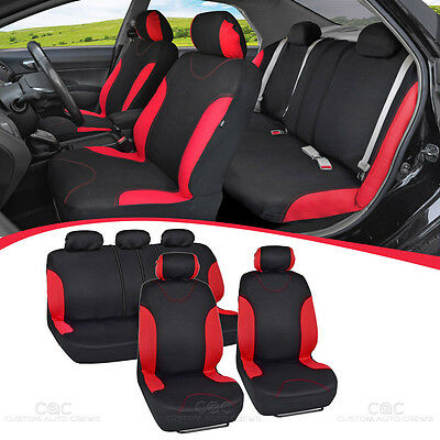 Red Stitched Car Seat Covers - Red Accent on Black Flat Cloth 9pc Front Rear