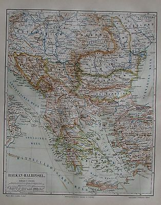 1889 BALKAN-HALBINSEL alte Landkarte Antique Map Lithographie