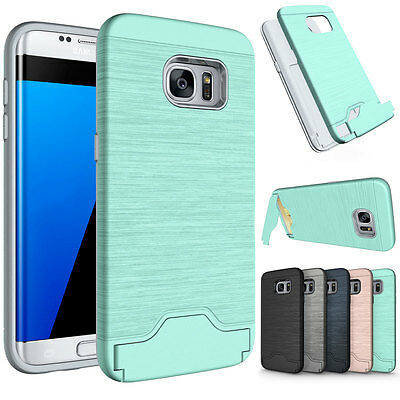 For Samsung Galaxy S7 &S8 Edge Phone Case Kickstand Credit Card Hard Armor Cover