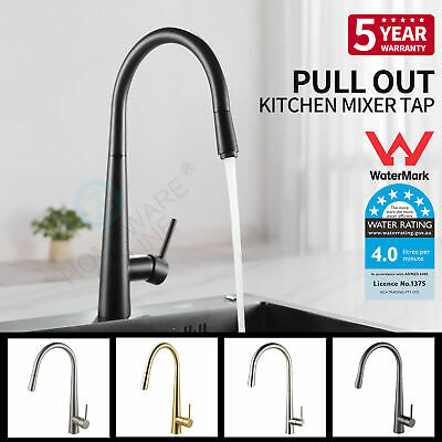 Brushed Black Gold Gunmetal Grey Kitchen Pull Out Mixer Tap Laundry Faucet Brass