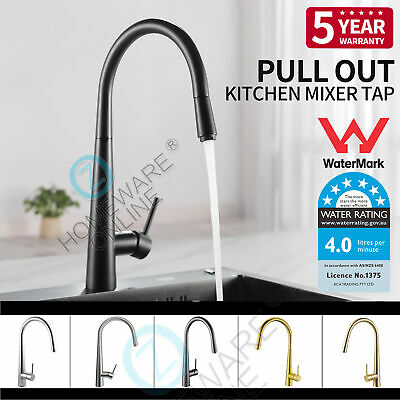 Nickel Brushed / Black Kitchen Pull Out Mixer Tap Laundry Sink Basin Faucet WELS