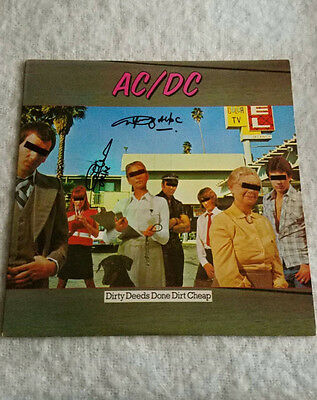 AC/DC - Angus Young, Cliff Williams, band signed Dirty Deeds record