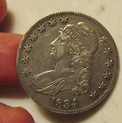 1834  CAPPED BUST HALF DOLLAR US COIN 50 Cents llARGE Date Small Letters
