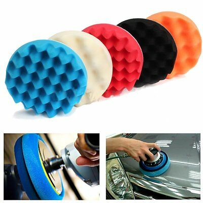 5Pcs 6/7'' Sponge Buffer Waffle Foam Polishser Buffing Pad Set for Car Polishing
