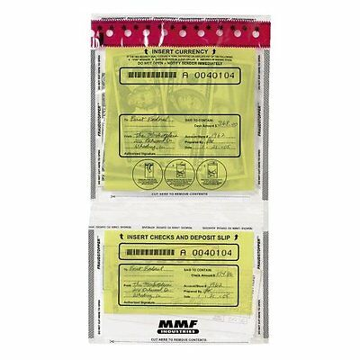 MMF Industries Tamper-Evident Twin Deposit Bags, 9.5 x 17.5 Inches, 100 Bags per