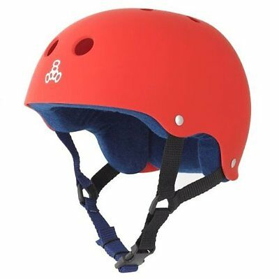 Triple 8 Brainsaver Rubber Helmet with Sweatsaver Liner (United Red, Small)