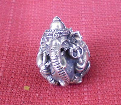 "Small Round White Metal Ganesh Statue for Hindu Practice 1"" High"