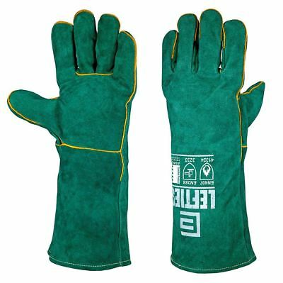 "2 Left Handed Welding Gloves ""GREEN LEFTIES"" Bobthewelder Premium Quality Deals"