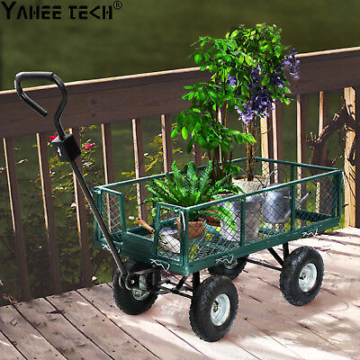 "400kg 48"" Steel Garden Cart Folding Mesh Sides Trolley Farm Wagon Trailer"