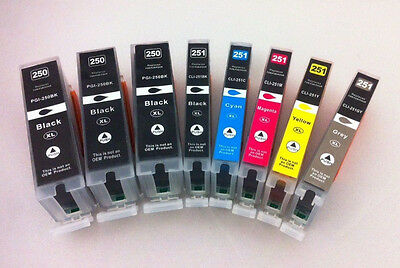 PGI250 CLI251 XL Ink Cartridge for Canon Pixma MG7520 MG7120 MG6620 MG6420 8PK