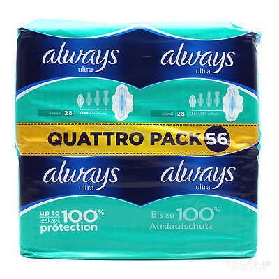 New Always Ultra Normal Plus Sanitary Pads with Wings Quattro Pack x 56