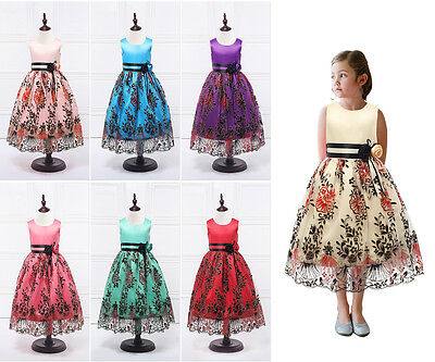 Girls Flower Bow Formal Party Ball Gown Prom Christening Wedding Princess Dress