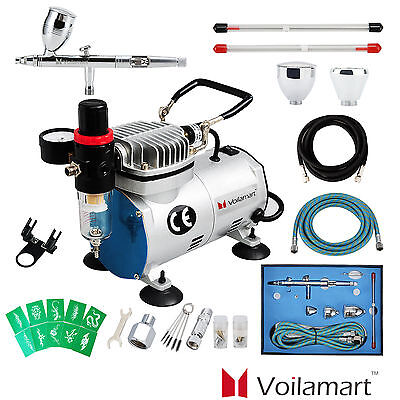 Voilamart 1/6hp Compressor Airbrush Kit 3 Needles 3 Cups Air Brush Spray Gun Art