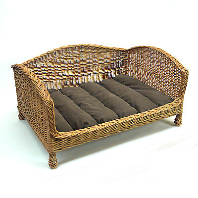 Small Wicker Cat Pet Basket Bed Settee