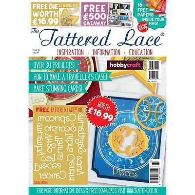 Tattered Lace Magazine Issue 33+  Free Cutting Die Zodiac Words Craft Scrapbook