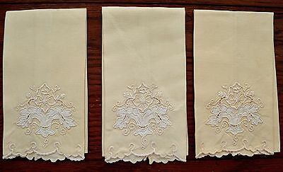 Vintage Lot 3 Hand Towels Guest Towels Feminine Yellow Creme Ivory Embroidery