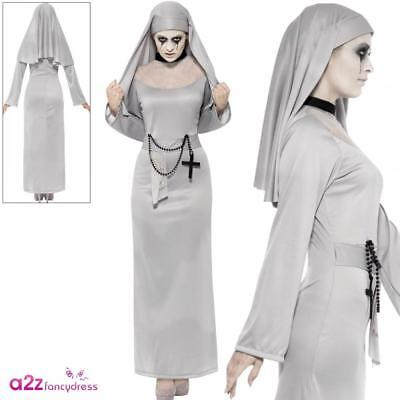 Gothic Nun Costume Grey Adult Ladies Womens Scary Mary Halloween Fancy Dress