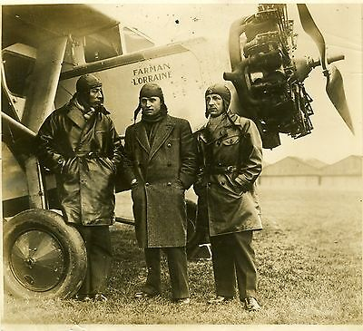 """Les aviateurs Joseph TOUGE, Jean REGINENSI, Roger LENIER"" Photo originale 1932"