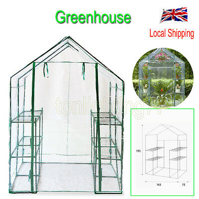 Compact Walk In Greenhouse Frame 6 Shelves Outdoor Garden Reinforced Cover NEW