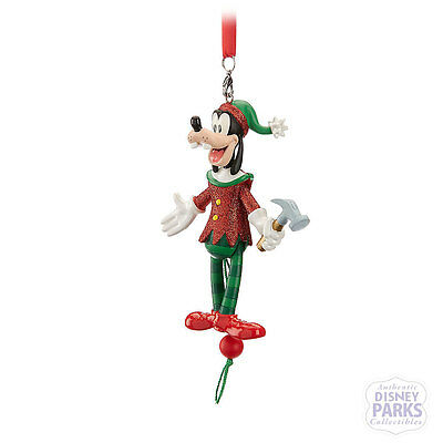 Disney Parks Goofy Articulated Figural Christmas Ornament Pull-String Holiday