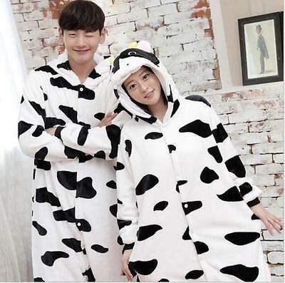 Unisex Adult Pajamas Kigurumi Cosplay Costume Animal Onesie Sleepwear cow