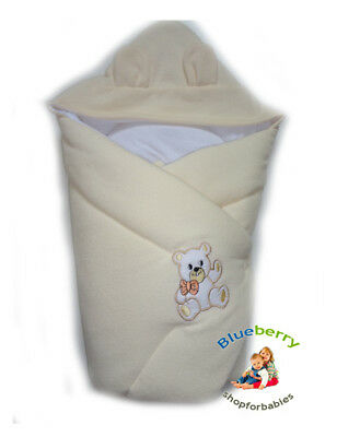 BlueberryShop Hooded Thermo Terry Swaddle Wrap Blanket Sleeping Bag for Newborn
