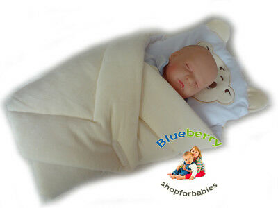 BlueberryShop Warm Velour with Pillow Swaddle Wrap Blanket Sleeping Bag for Newb
