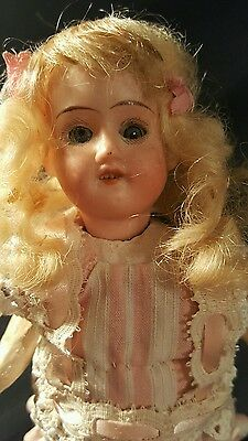 """7"""" Petite Antique German Bisque Head And Composition Body"""