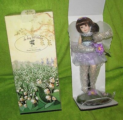 """12 """" Porcelain Doll By Carol Perciavalle The Fairy Collection Purple NIB w/stand"""