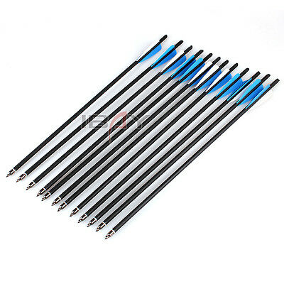 "12Pcs 20"" Carbon Arrows 8.8mm Crossbow Bolts for Crossbow Hunting Archery UK"
