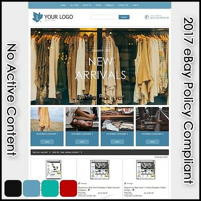 eBay Store Template 22 Dynamic Category 4 Color Professional Design Free Install
