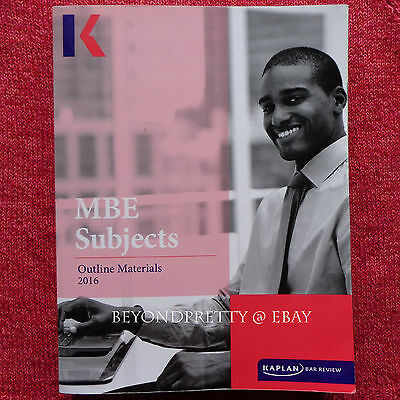 2016 - 2017 Kaplan PMBR Bar Review Multistate MBE Subjects Outline w/ Civil  Pro