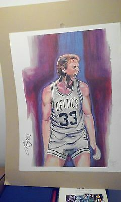 "19"" x 25"" PAINTED LARRY BIRD LITHOGRAPH BY RAYMOND Warsager NUMBERED & SIGNED"