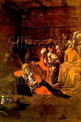 Michelangelo Caravaggio Adoration of the Shepherds Art Print - 24x36