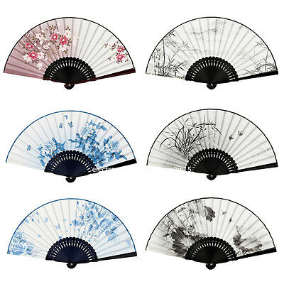 Lady Women Janpanese Chinese Folding Hand fan Bamboo Silk Vintage Retro